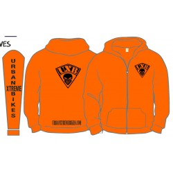 ORANGE ZIPPED HOODIE
